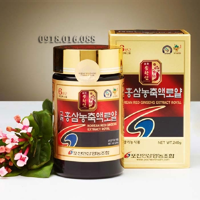 Cao hồng sâm Hàn Quốc 240g -  dưỡng.  Thành phần Cao hồng sâm Hàn Quốc 240g: Chiết xuất 100% hồng sâm cô đặc RG1, RB, RG3 6mg, tỷ lệ phối trộn 70% rễ chính và 30% rễ phụ. Công dụng của Cao hồng sâm Hàn Quốc 240g Pocheon:  Tăng